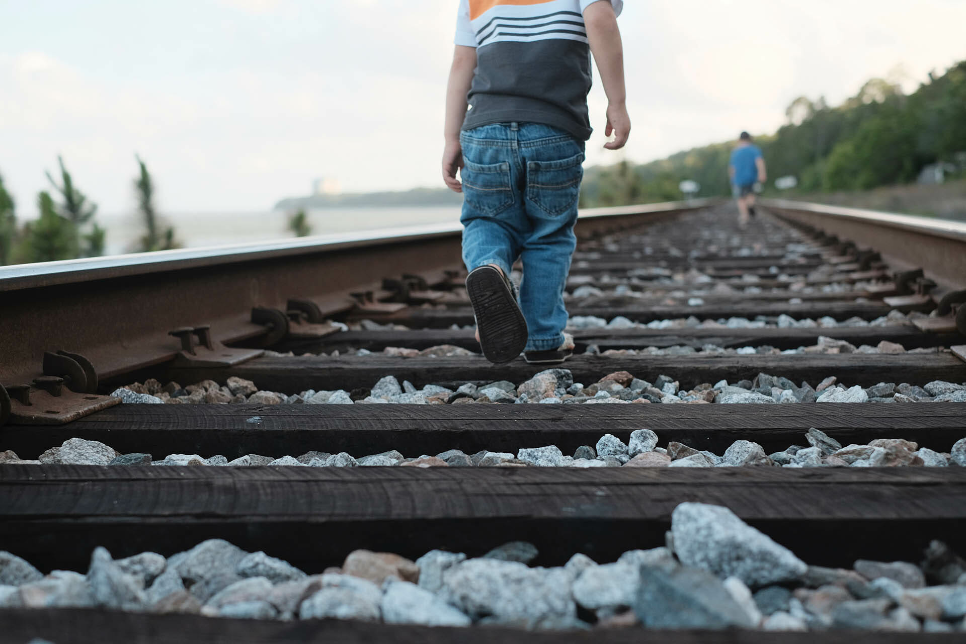 railroad tracks and kids